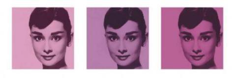 Audrey Hepburn - Pink triptych
