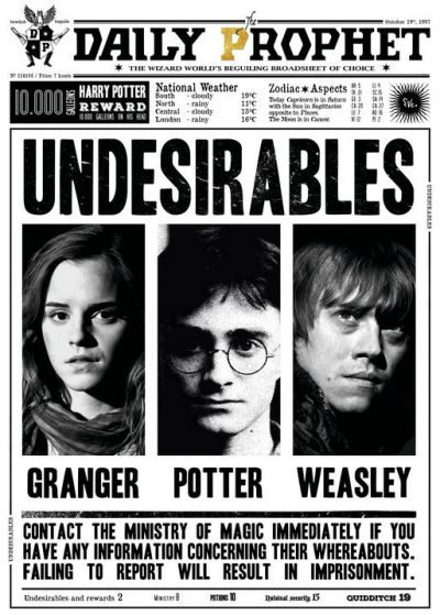 Pergament - Harry Potter - Daily Prophet - Undesirables