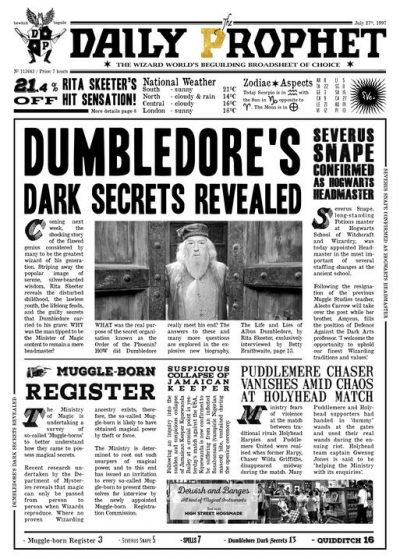 Pergament - Harry Potter - Daily Prophet - Dumbledore´s Dark Secret