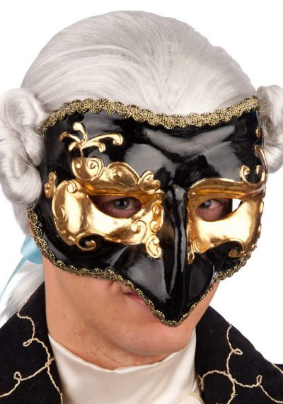 Ansiktsmask - Half face black and gold mask