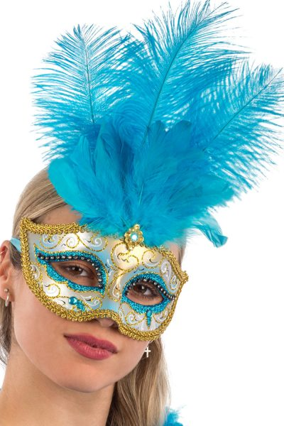 Ansiktsmask - Blue Venetian mask with gold , glitter and feathers