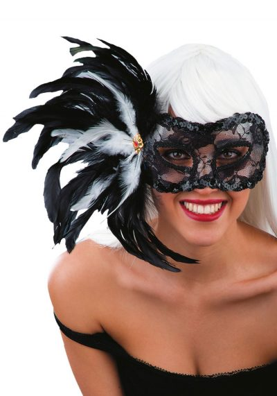 Ansiktsmask - Black lace mask with feathers