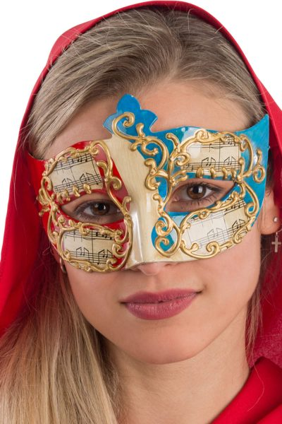 Ansiktsmask - White, red and blue Venetian mask with gold decoration