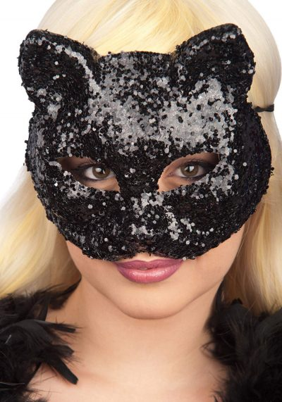 Ansiktsmask - Black cat glitter mask