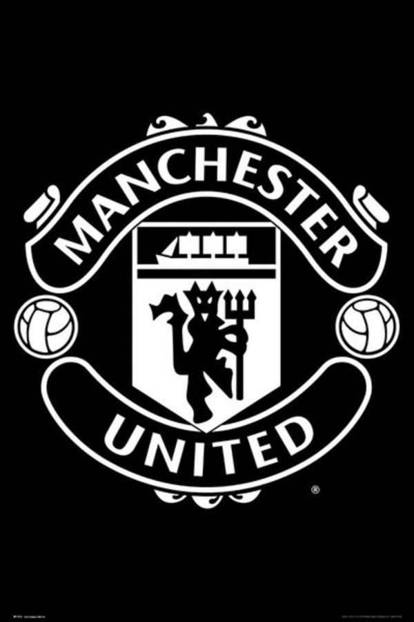 Manchester United - Crest Black and White