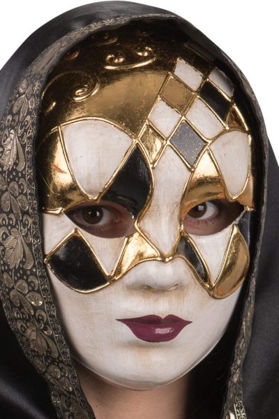 Ansiktsmask - White, gold and black Venetian mask