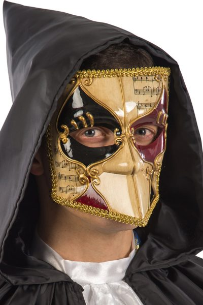 Ansiktsmask - White, gold, black and red Venetian bautta mask