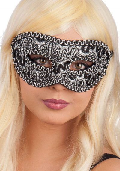 Ansiktsmask - Black damask mask