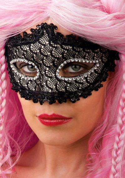 Ansiktsmask - Black mask with lace and strass