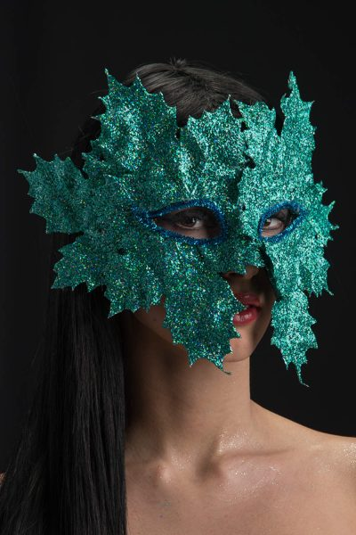 Ansiktsmask - Mask with glitter aquamarine leaves