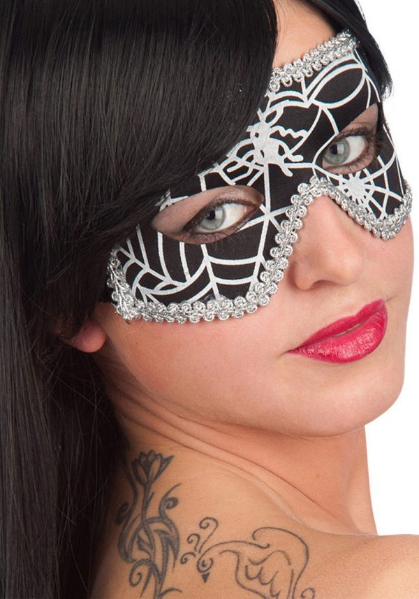 Ansiktsmask - Mask in Black Spiderweb Fabric