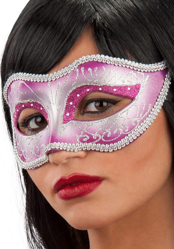 Ansiktsmask - Mask in pink hard PVC with glitter