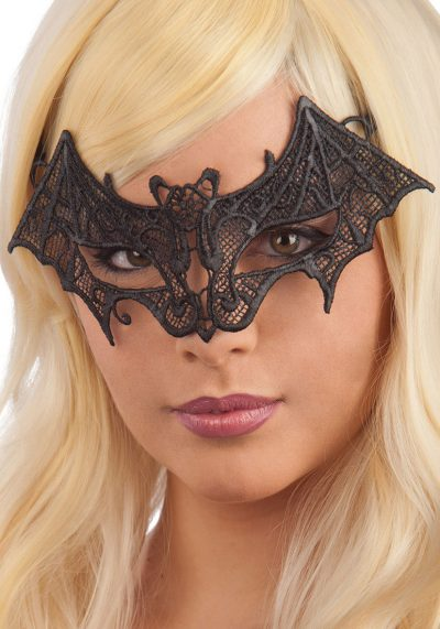 Ansiktsmask - Bat Mask in black Fabric Macrame
