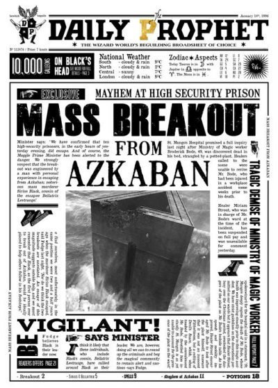 A3 Print - Harry Potter - Daily Prophet - Breakout from Azkaban
