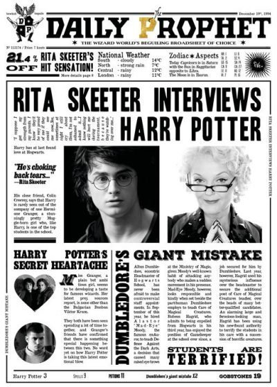 A3 Print - Harry Potter - Daily Prophet - Rita Skeeter Interview