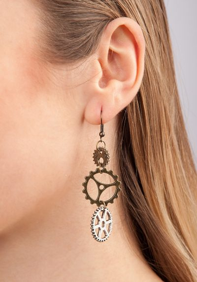 Steampunk Earrings With Gearwheel
