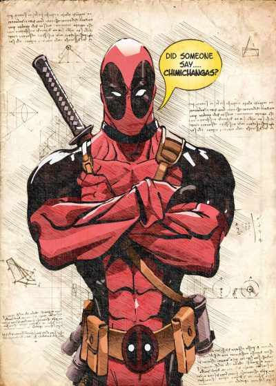 A3 Print - Deadpool, Chimichangas