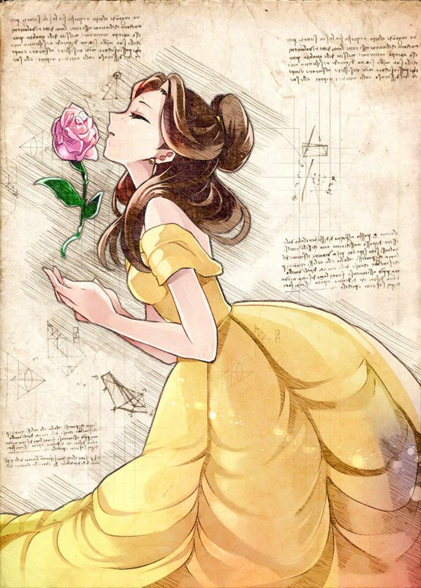 A3 Print - Disney - Beauty and the beast - Belle rose