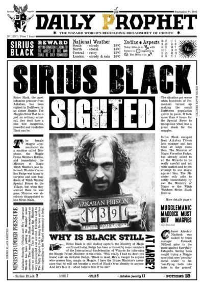 A3 Print - Harry Potter - Daily Prophet - Sirius Black