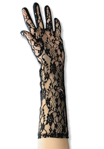 Black Lace Gloves 40 cm