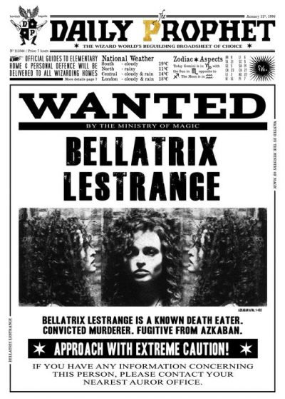 A3 Print - Harry Potter - Daily Prophet - Wanted Bellatrix Lestrange