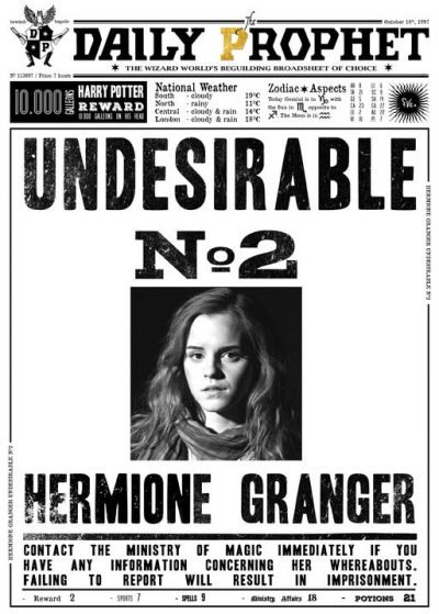 A3 Print - Harry Potter - Daily Prophet - Hermione Granger No 2