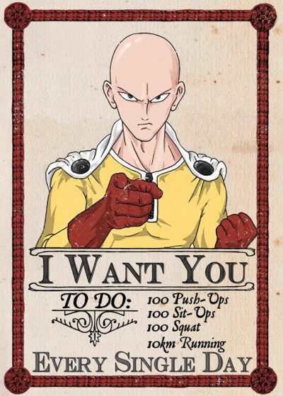 A3 Print - One Punch Man - Caped Baldy - I Want You