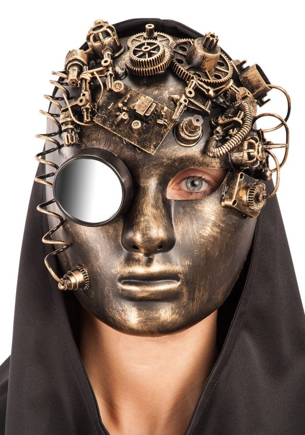 Ansiktsmask - Steampunk Future Full Face Gold Mask with Mirror