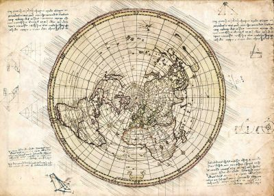 Pergament - Map - Flat earth - Karta
