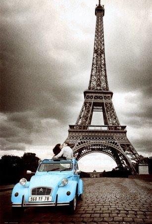 Paris Eiffel Tower - Blue Car, Love