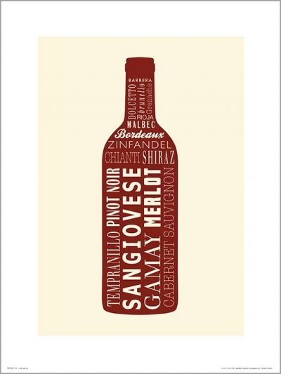 Exklusivt Art Print - Wine bottle Red - Rövvin, flaska