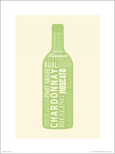 Exklusivt Art Print - Wine bottle White -Vitt vin, flaska