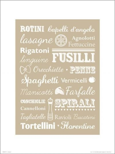Exklusivt Art Print - Pasta - Text