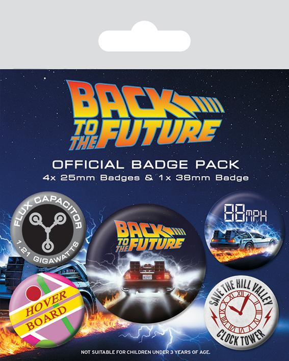 Knappsats - Badge Pack - Back To The Future (Delorean)