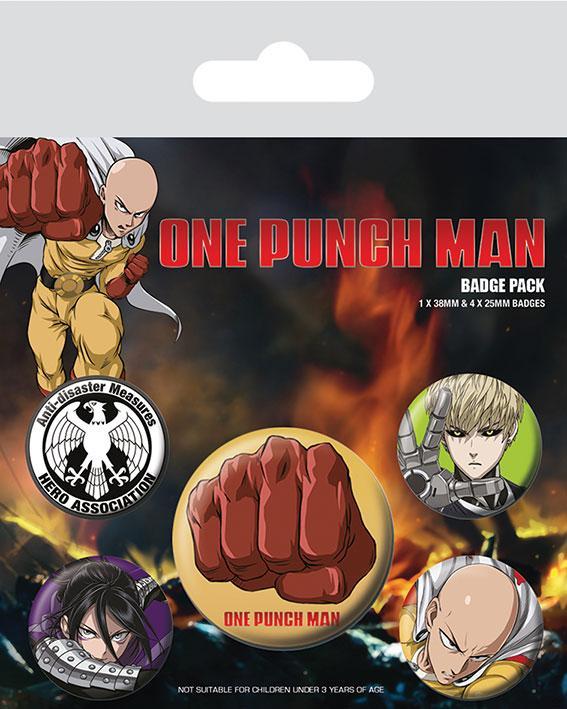 Knappsats - Badge Pack - One Punch Man (Destructive)