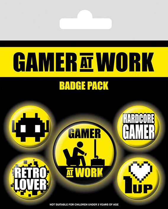 Knappsats - Badge Pack - Gamer At Work (Collectables)