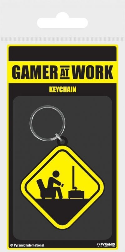 Nyckelring - Gamer At Work (Caution Sign)