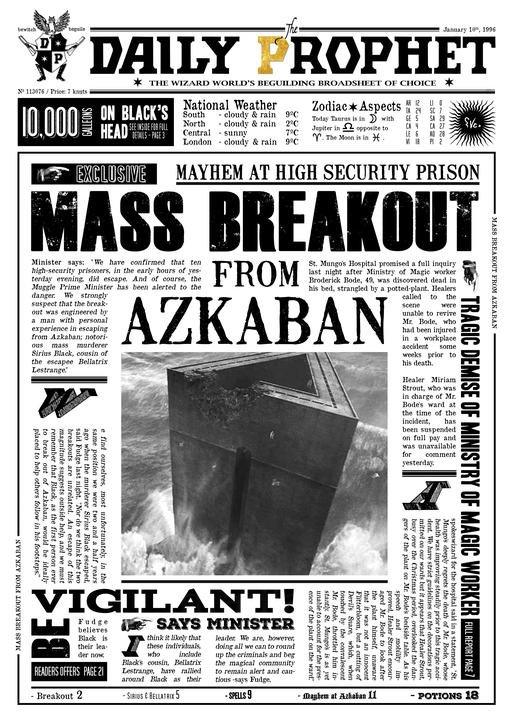 A3 Print - Harry Potter - Daily Prophet - Breakout from Azkaban