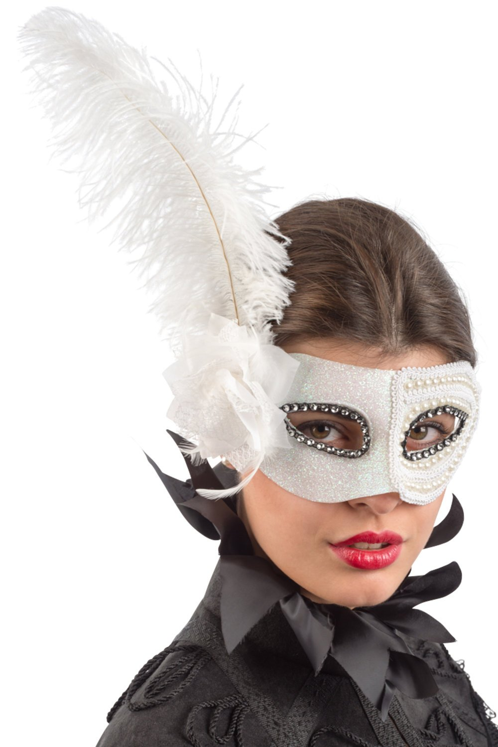 Ansiktsmask - White mask with strass, perls, flower and feathers