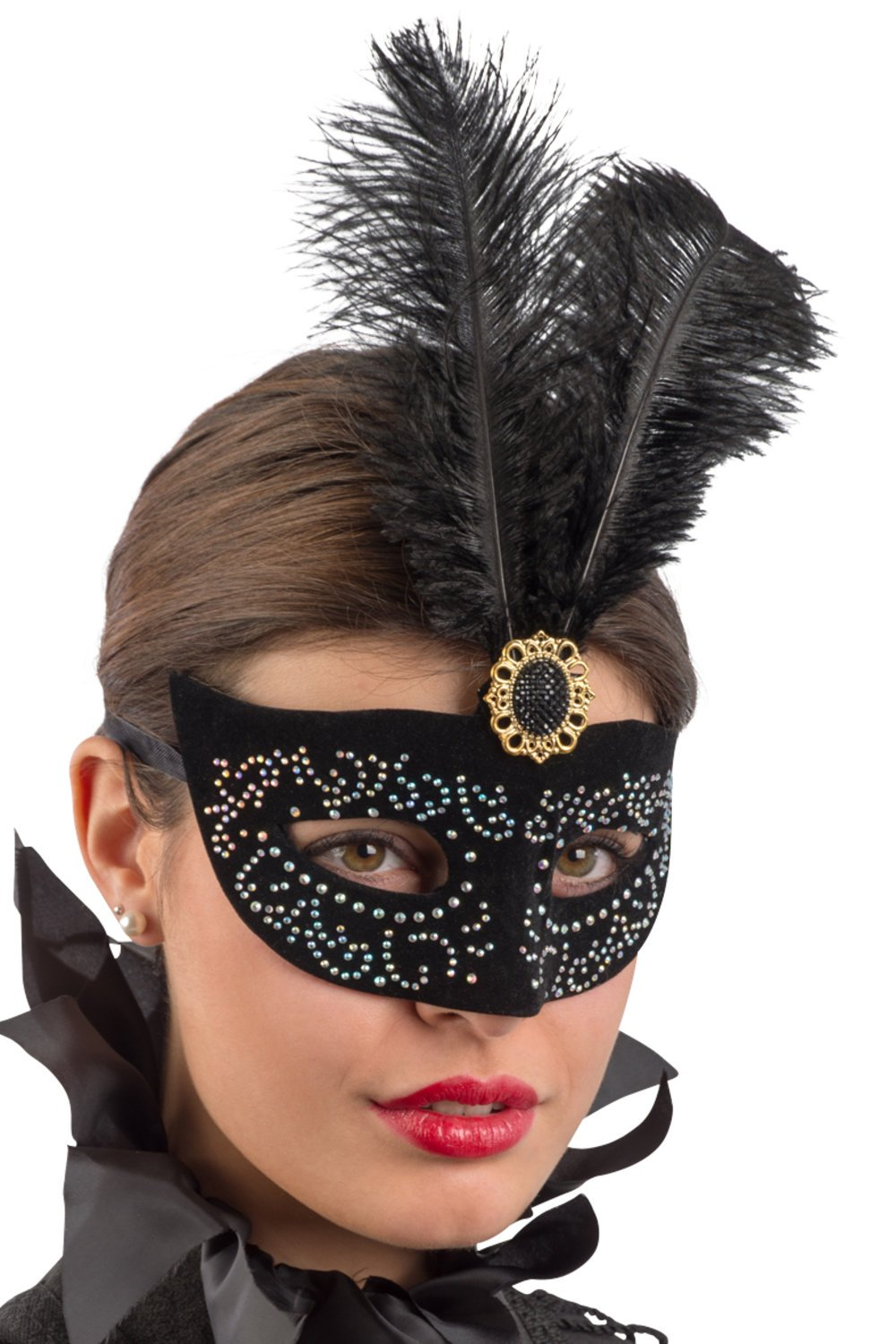 Ansiktsmask - Black velvet mask with silver and feathers