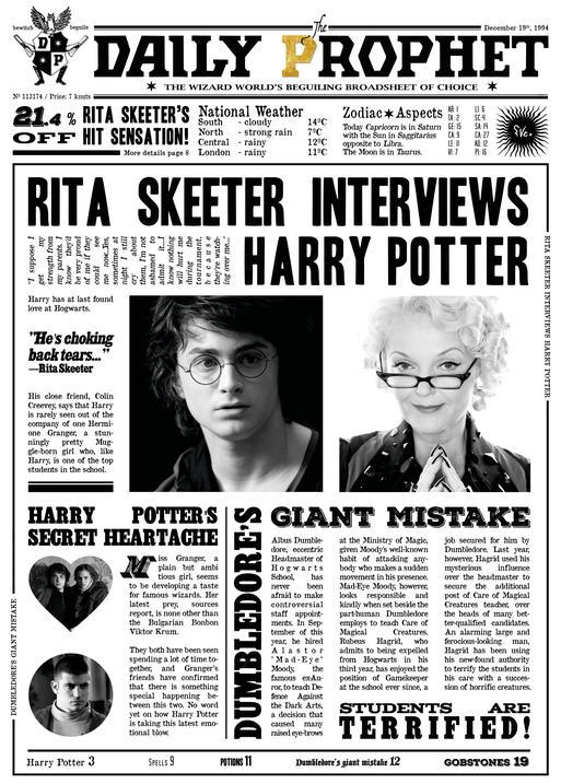 A3 Print - Harry Potter - Daily Prophet - Rita Skeeter Interview