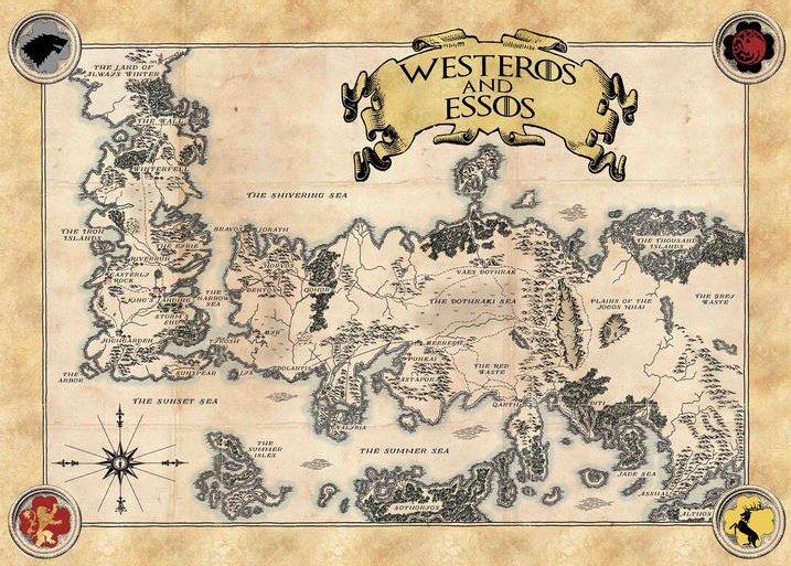 Pergament - Game Of Thrones - Map of Essos and Westeros