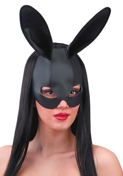 Ansiktsmask - Fake leather black rabbit mask