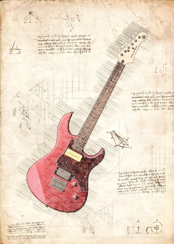 A3 Print - Music - Röd Elgitarr