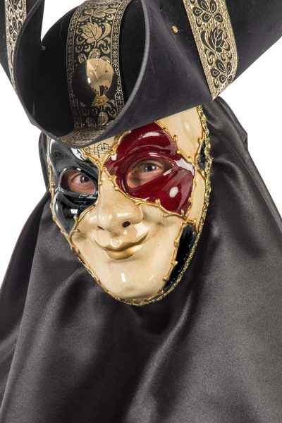 Ansiktsmask - White, gold, red and black Venetian mask