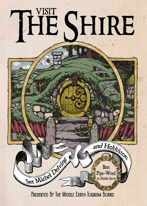 A3 Print - Lord of the rings - Visit The Shire