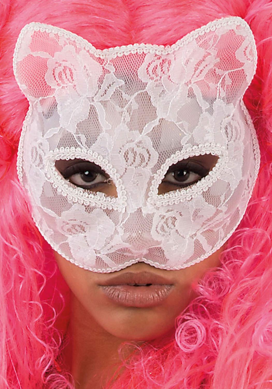 Ansiktsmask - Wite cat lace mask