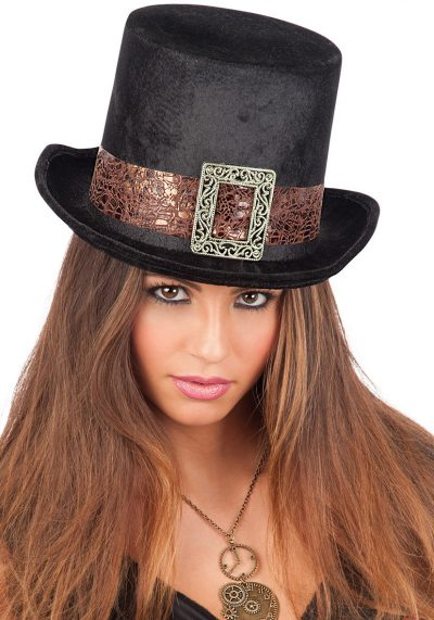 Steampunk Black Velvet Top-Hat Adult Size H.Cm.14
