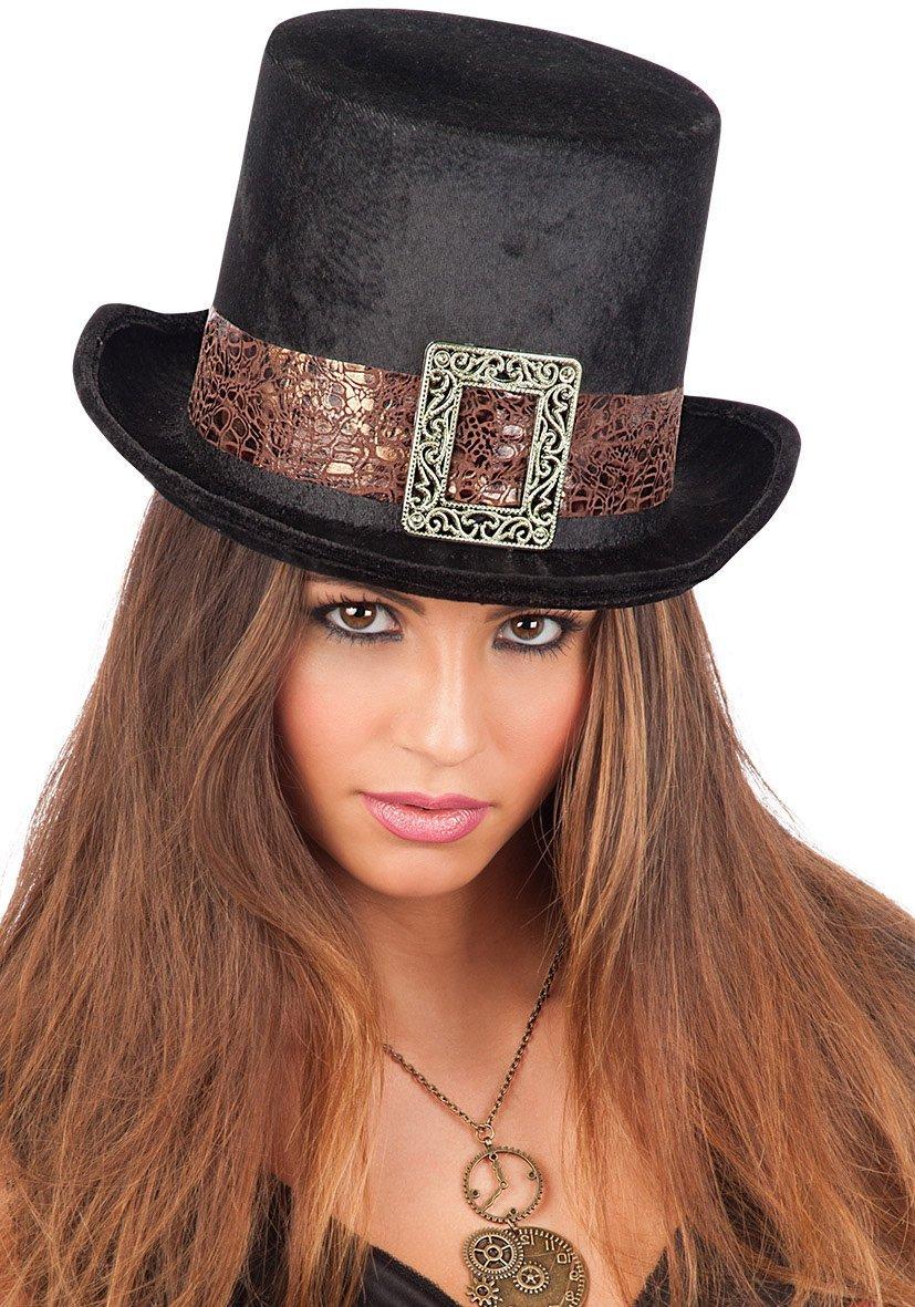 Steampunk Black Velvet Top-Hat Adult Size H.Cm.14