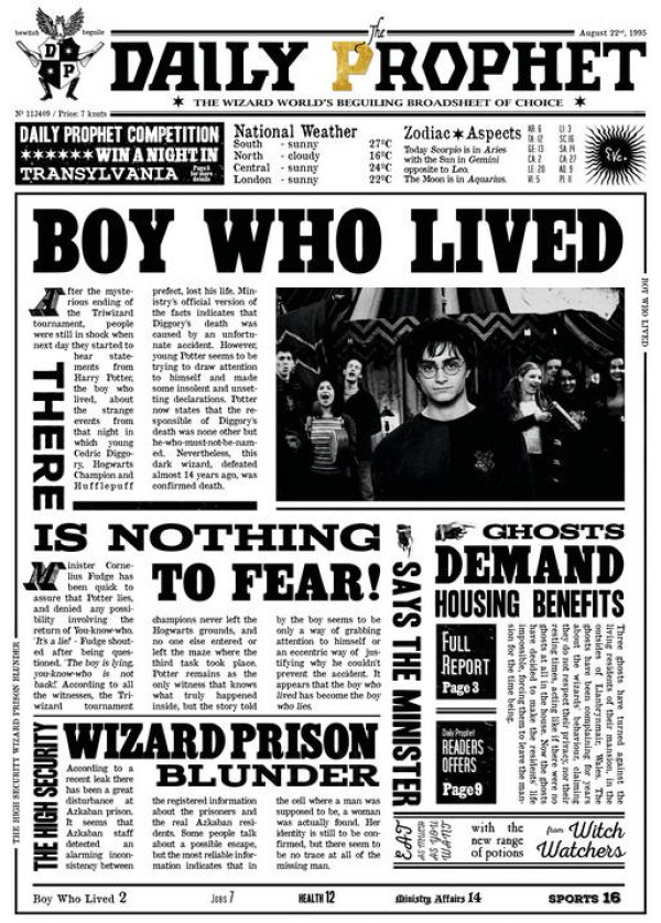 A3 Print - Harry Potter - Daily Prophet - Boy who lived